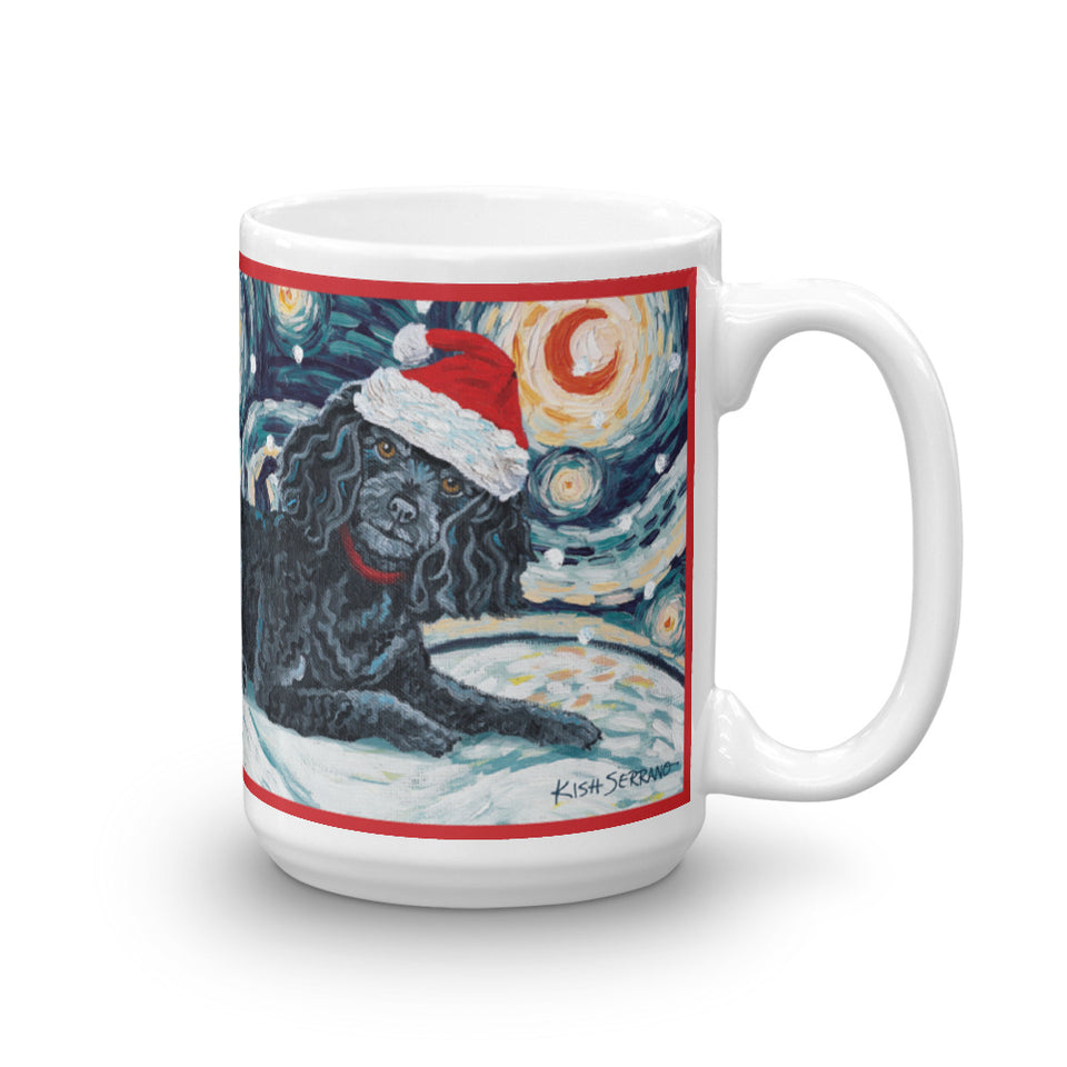 Poodle Black Snowy NIght Mug - 15oz