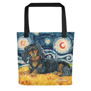 Dachshund (longhaired black & tan) STARRY NIGHT Tote