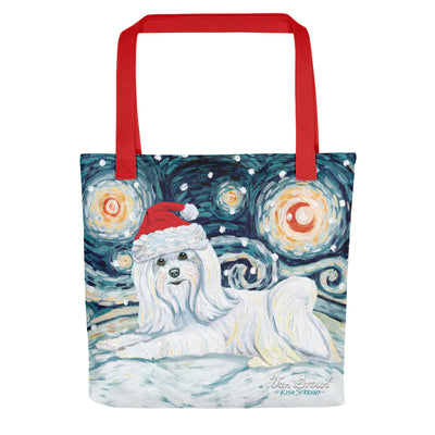 Maltese Long Haird Snowy Night Tote Bag