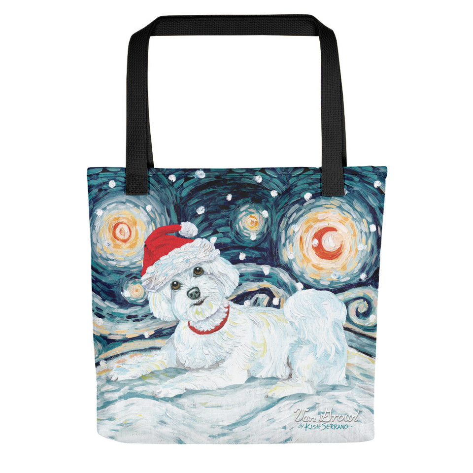 Maltese Puppy Cut Snowy Night Tote Bag