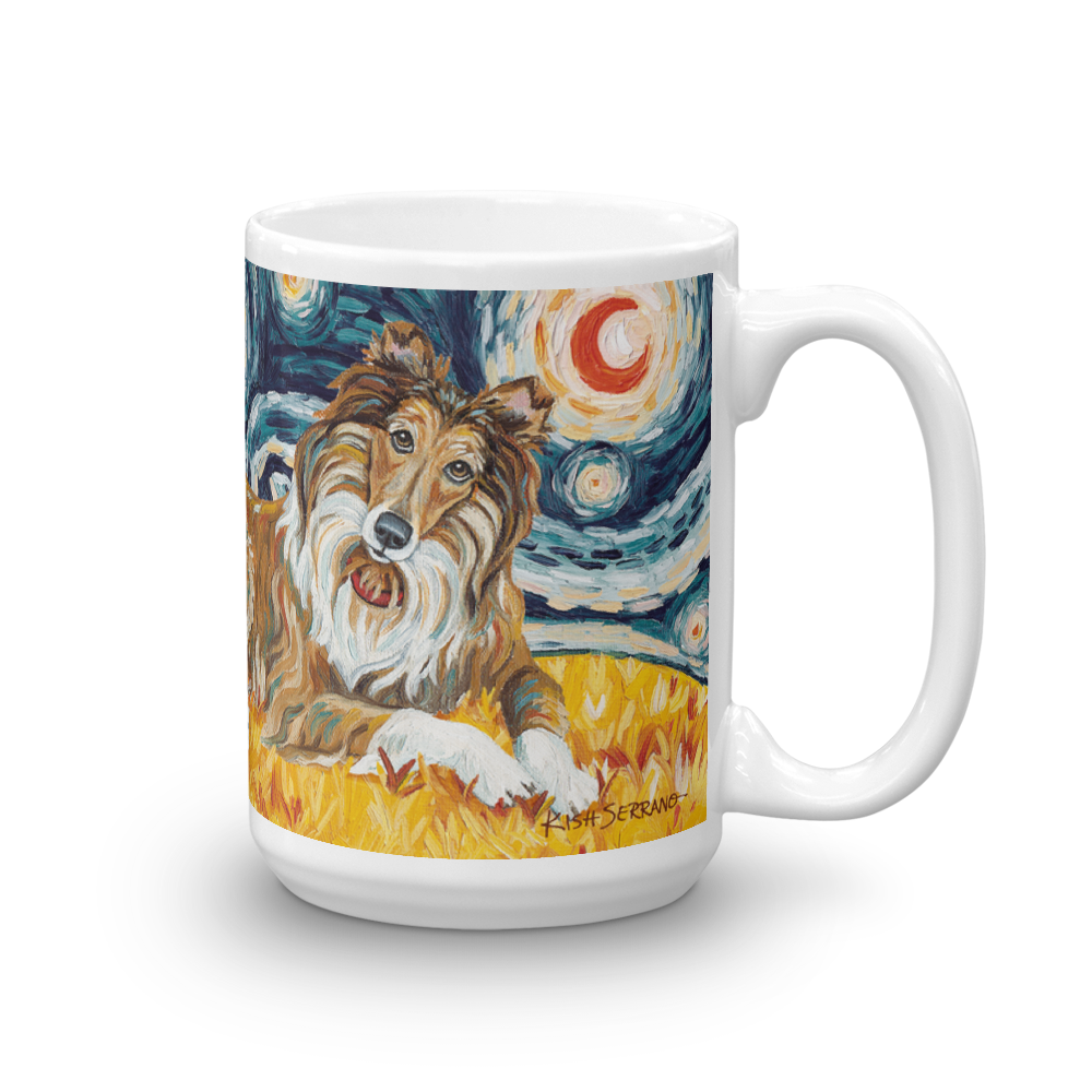 Collie (dark face) STARRY NIGHT Mug-15oz