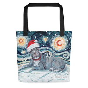 American Staffordshire Pitbull (Grey) Snowy Night Tote Bag