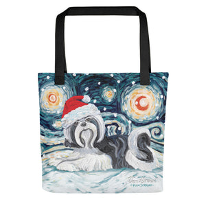 Shih Tzu (Black) Snowy Night Tote Bag