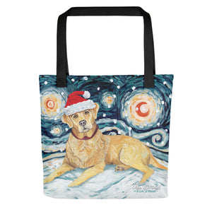 Labrador (Yellow) Snowy Night Tote Bag