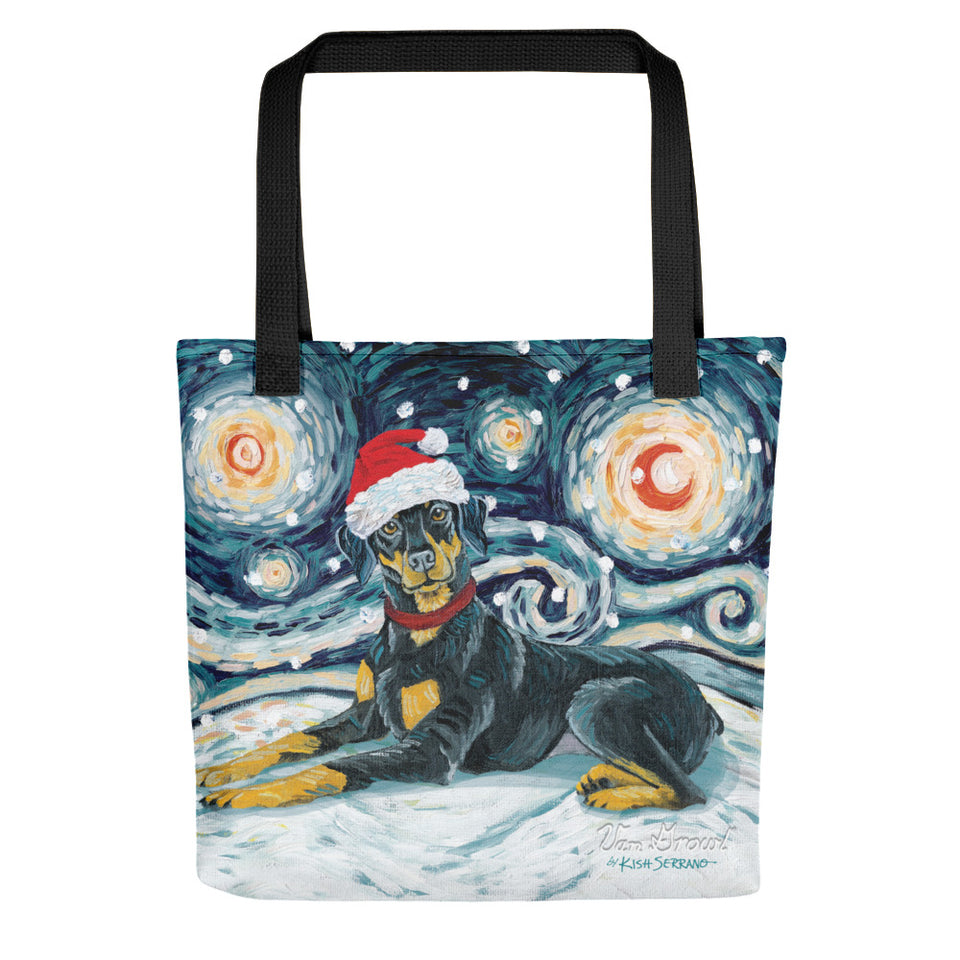 Doberman (Uncropped) Snowy Night Tote bag