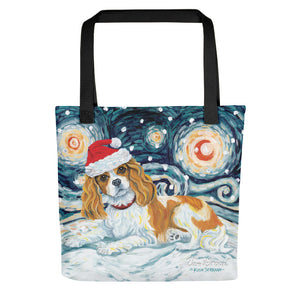 Cavalier King Charles (Blenheim) Snowy Night Tote Bag