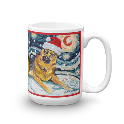 German Shepherd Snowy Night Mug - 15oz