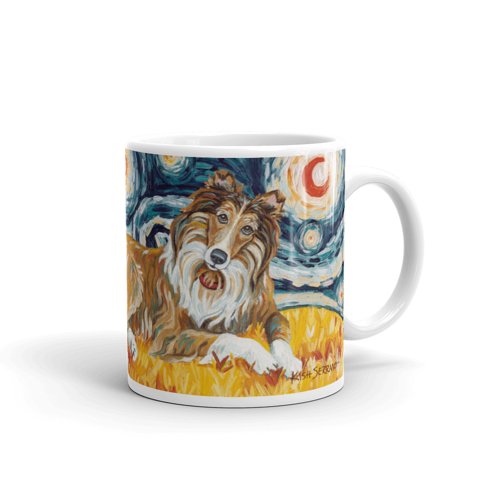Collie (white stripe) STARRY NIGHT Mug-15oz