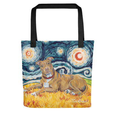 Pit Bull Terrier (tan) STARRY NIGHT Tote