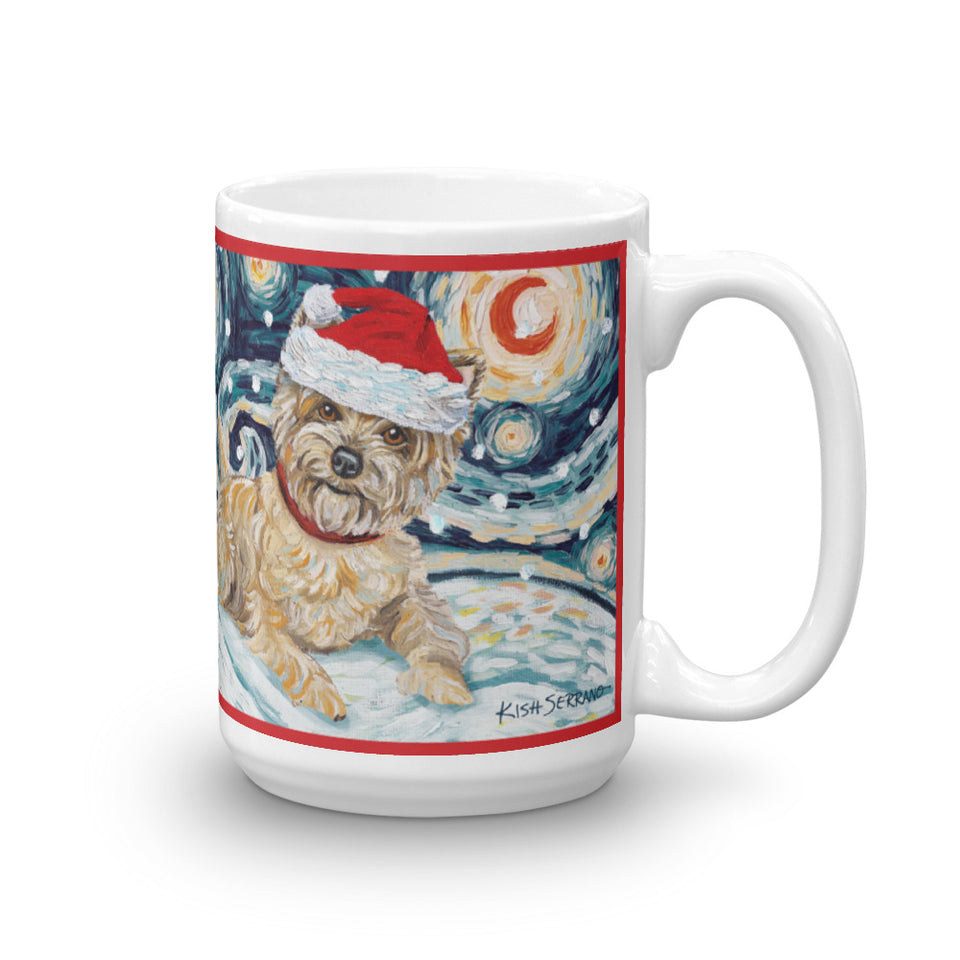 Cairn Terrier (Light) Snowy Night Mug - 15oz