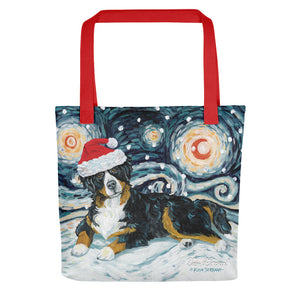 Bernese Mountain Dog Snowy Night Tote bag