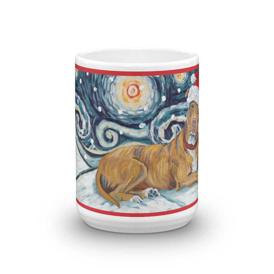 American Staffordshire Terrier (Tan) Snowy Night Mug - 15oz