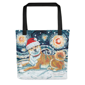 Shiba lnu (Red) Snowy Night Tote Bag
