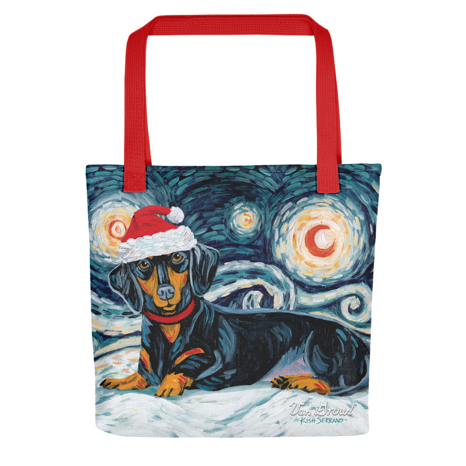 Dachshund (Black & Tan) Snowy Night Tote Bag