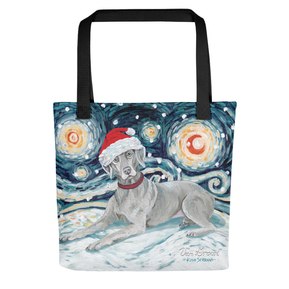 Weimaraner Snowy Night Tote Bag