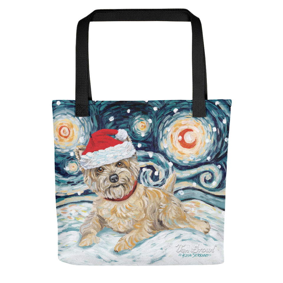 Cairn Terrier (Light) Snowy Night Tote Bag