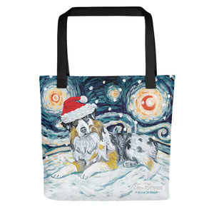 Australian Shepherd Snowy Night Tote Bag