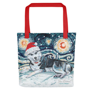 Siberian Husky Snowy Night Tote bag