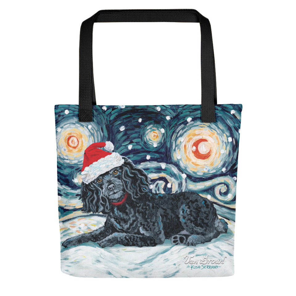 Poodle (Black) Snowy Night Tote Bag