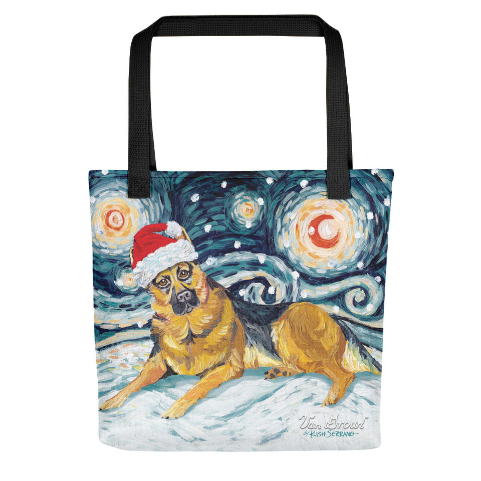 German Shepherd Snowy Night Tote Bag