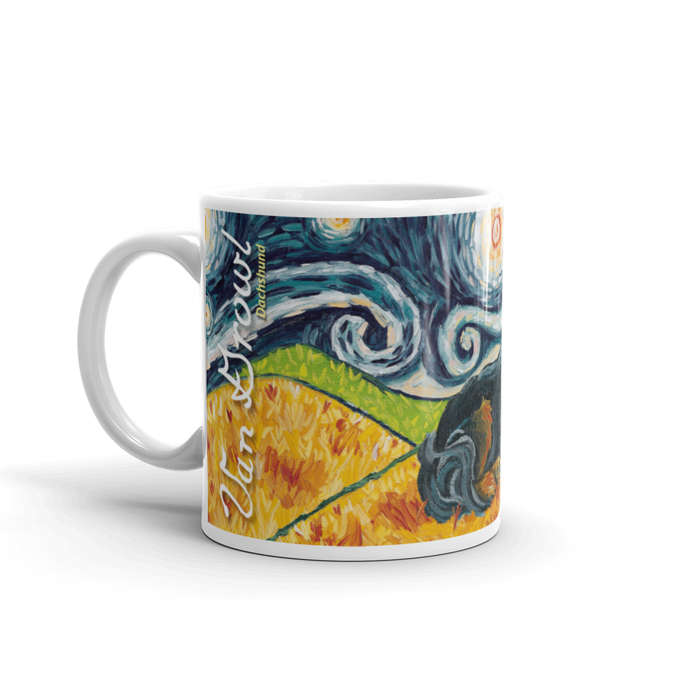 Dachshund (longhaired black & tan) STARRY NIGHT Mug-15oz
