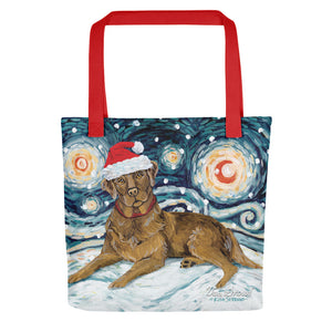 Labrador (Chocolate) Snowy Night Tote bag