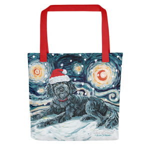 Doodle (Black) Snowy Night Tote Bag
