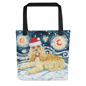 Cocker Spaniel Snowy Night Tote Bag