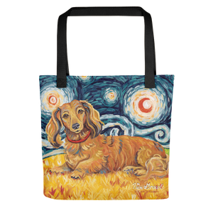 Dachshund (longhaired red) STARRY NIGHT Tote
