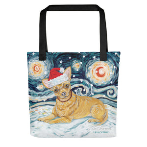 Chihuahua Snowy Night Tote Bag