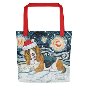 Basset Hound Snowy Night Tote Bag