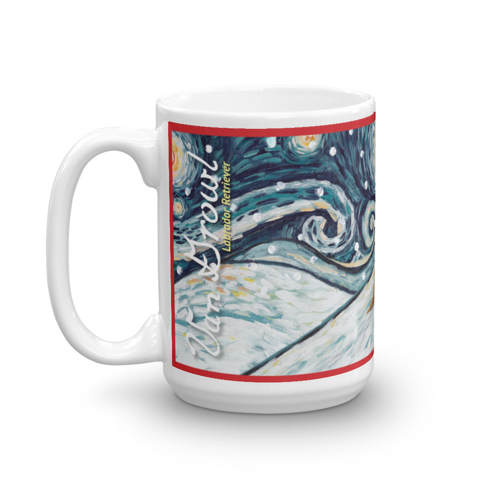 Labrador Retriever (Choclate) Snowy Night Mug - 15oz