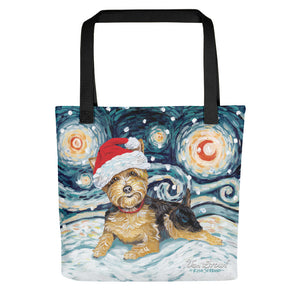Yorkie Snowy Night Tote Bag