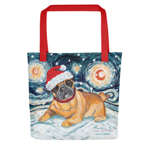 Pug Snowy Night Tote bag