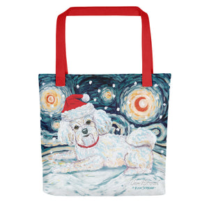 Bichon Snowy Night Tote Bag