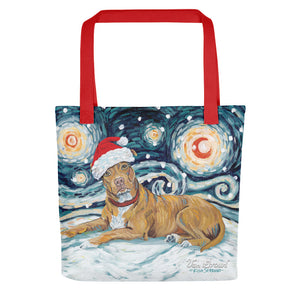 American Staffordshire Pitbul Snowy Night Tote bag