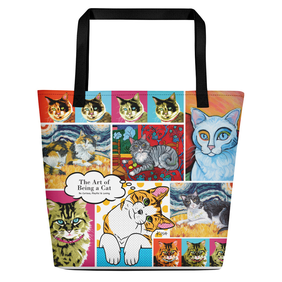 """The Art of Being a Cat"" Beach Bag with Pocket"