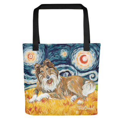 Collie (dark face) STARRY NIGHT Tote