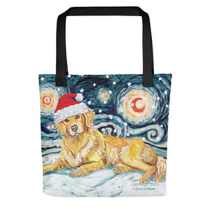 Golden Retriever Snowy Night Tote Bag