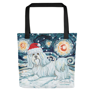 Havanese Snowy Night Tote Bag
