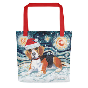Beagle Snowy Night Tote Bag