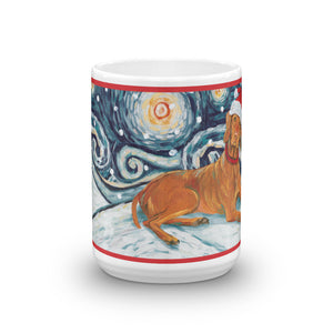 Vizsla Snowy Night Mug - 15oz