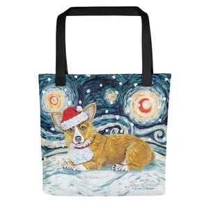 Corgi (Pembroke Welsh) Snowy Night Tote Bag