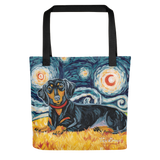 Dachshund (black & tan) STARRY NIGHT Tote
