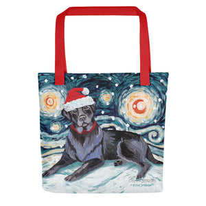 Labrador Black Snowy Night Tote Bag