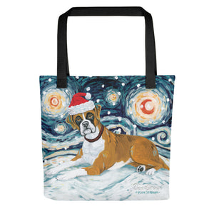 Boxer Snowy Night Tote Bag
