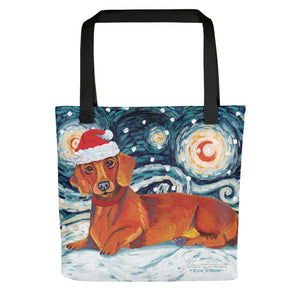 Dachshund (Red) Snowy Night Tote Bag