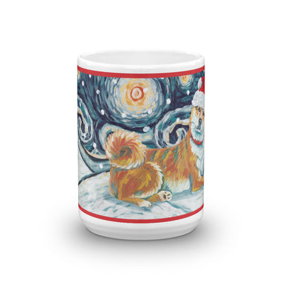 Shiba lnu (Red) Snowy Night Mug - 15oz