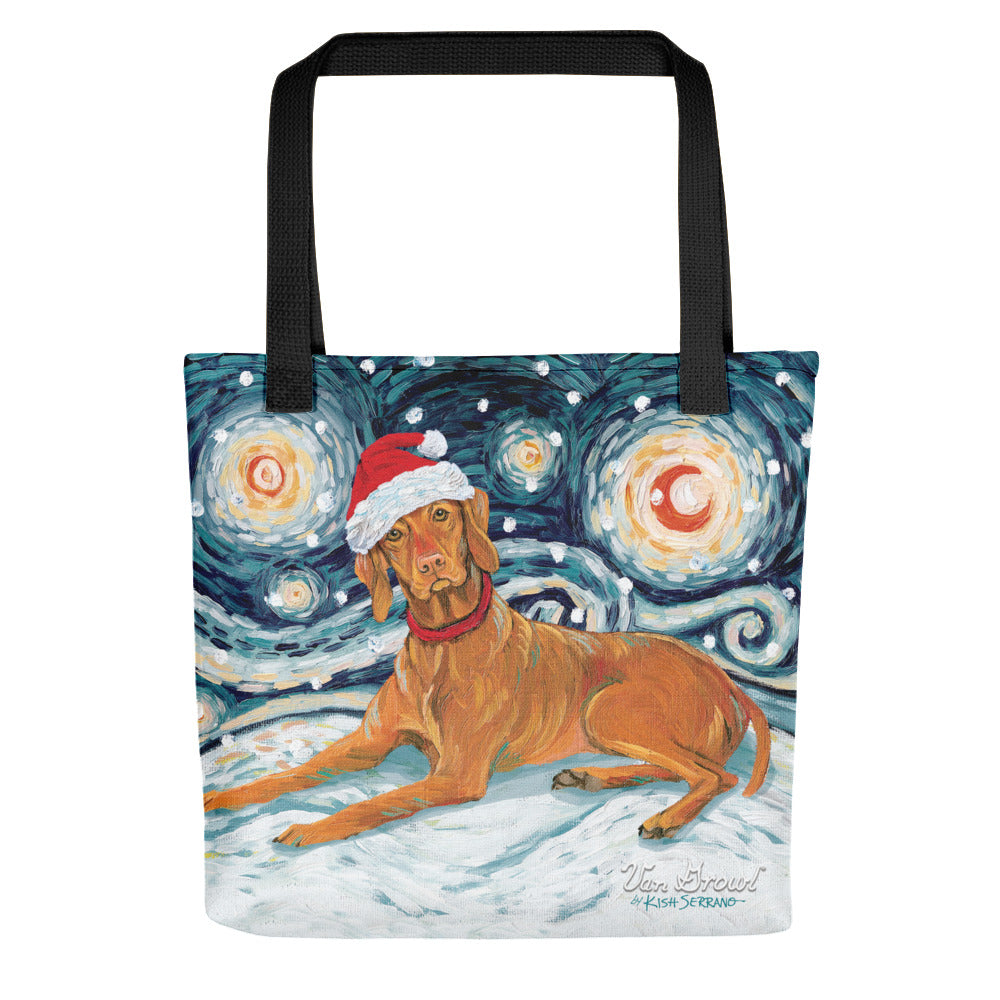 Vizsla Snowy Night Tote Bag