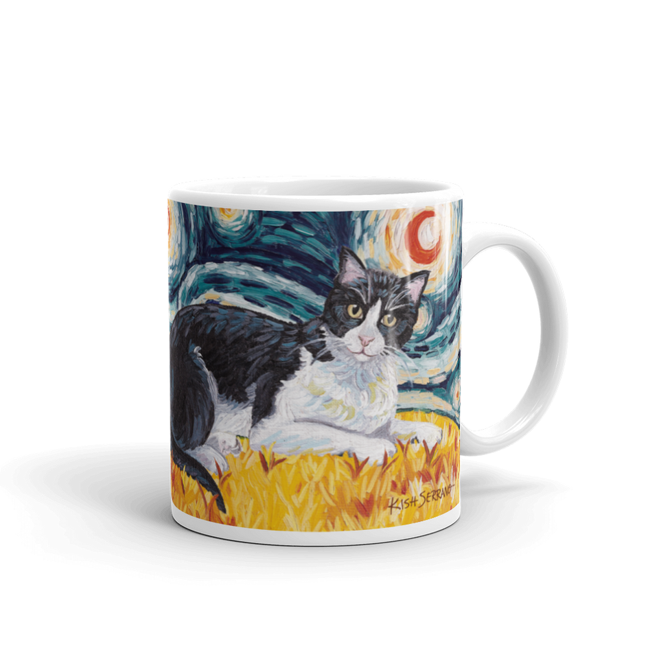Tuxedo (shorthaired) STARRY NIGHT Mug 150z
